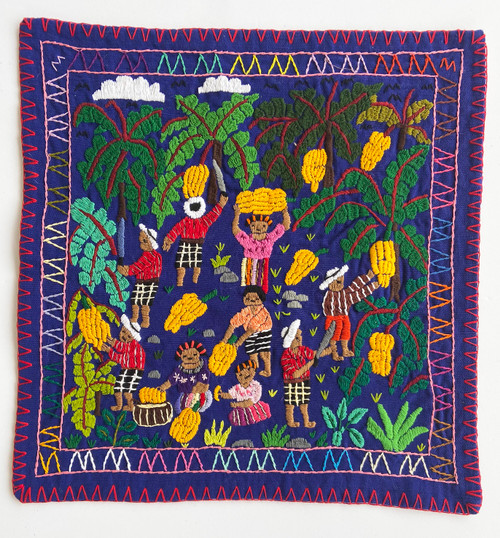 "Hand Stitched Story Cloth D Cotton Guatemala (18.5"" x 19"")"