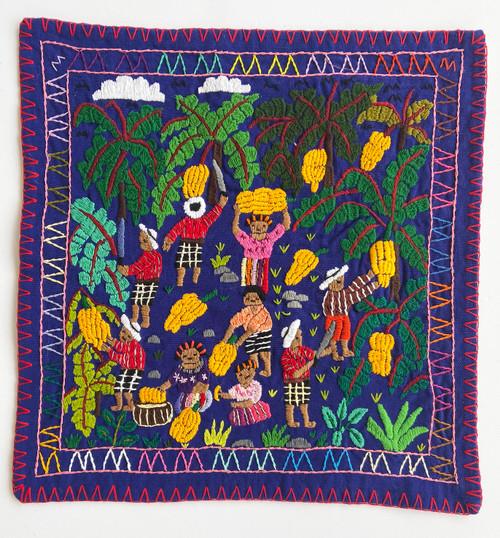 "Hand Stitched Story Cloth D Cotton Guatemala (18.5"" x 19"")"