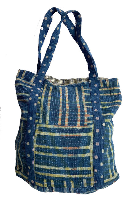 Hand Stitched Kantha Shoulder Bag Cotton India indigo