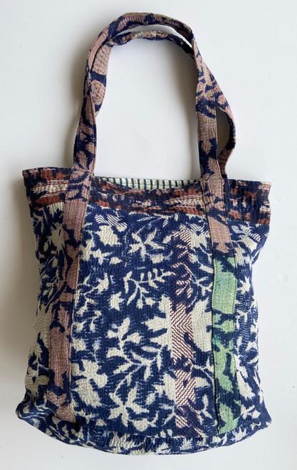 "Hand Stitched Kantha Shoulder Bag Cotton B India (15"" x 15"" strap 12"")"