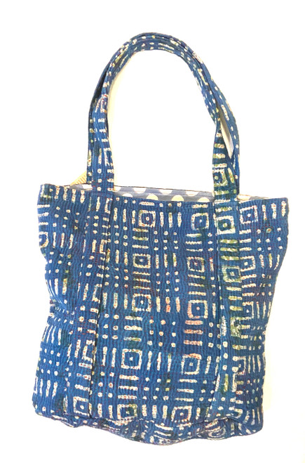 "Hand Stitched Kantha Shoulder Bag Cotton C India (15"" x 15"" strap 12"")"