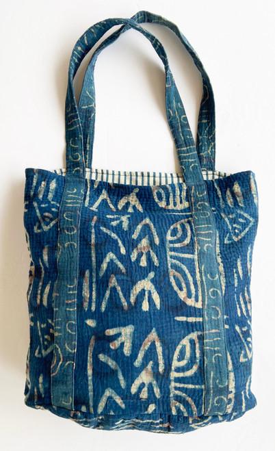 """Hand Stitched Kantha Shoulder Bag Cotton D India (15"""" x 15"""" strap 12"""")"""