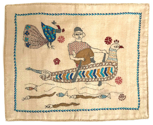 "Hand Stitched Kantha  Man in Bird Boat Cotton India (10"" x 14"")"