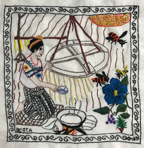 "Hand Embroidered Candle Making Story Guatemala (framed 15"" x 15"")"