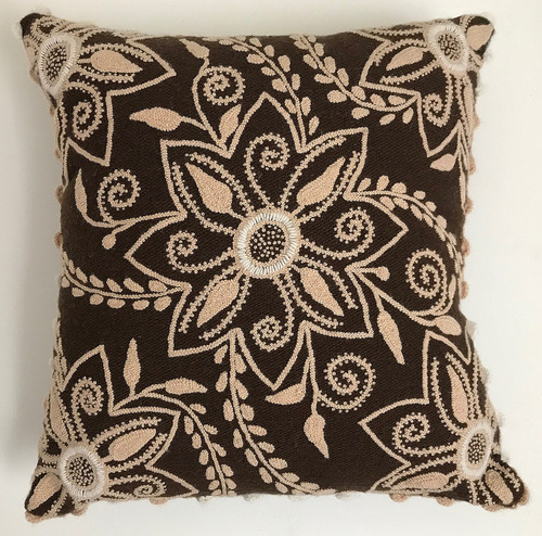 """Peru Woolen Hand Woven and Embroidered Brown Pillow (18"""" x 18"""")"""