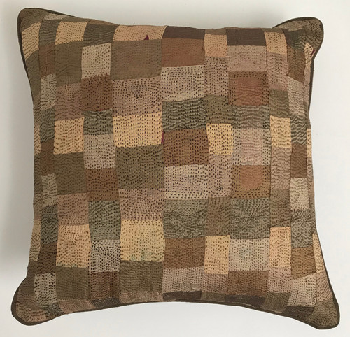 "Hand Quilted Copper Patchwork Silk Pillow A India (18"" x 18"")"