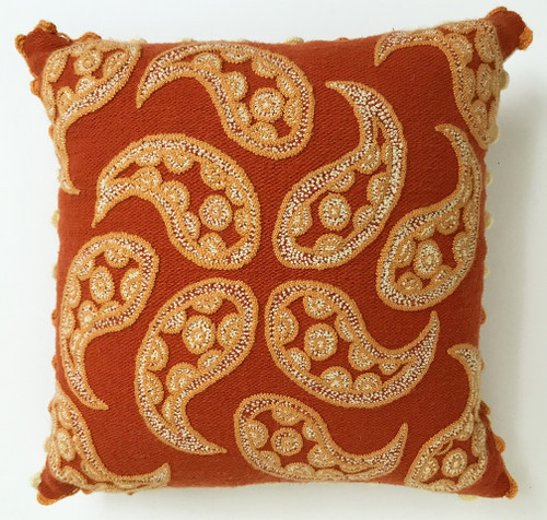 "Peru Woolen Hand Woven and Embroidered Pillow (17"" x 17"")"