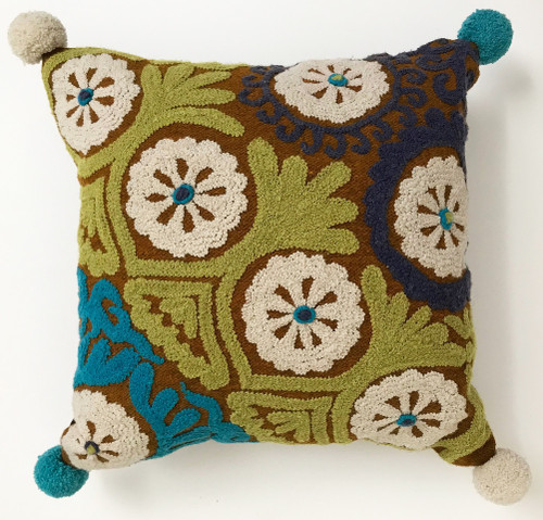 """Peru Woolen Hand Woven and Embroidered Tobacco Pillow (17"""" x 17"""")"""