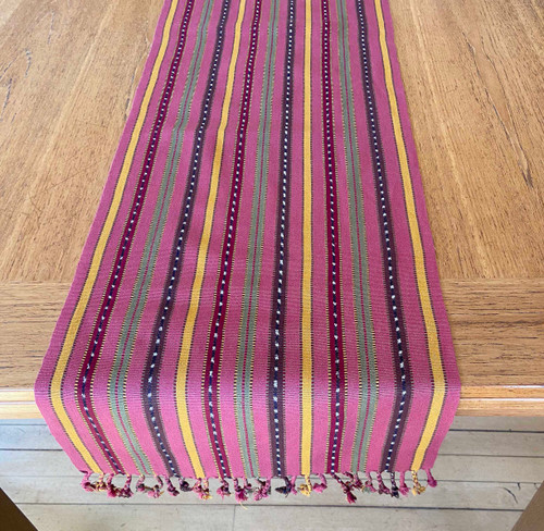 "Handwoven Cotton Table Runner B Guatemala (13.5"" x 76"")"