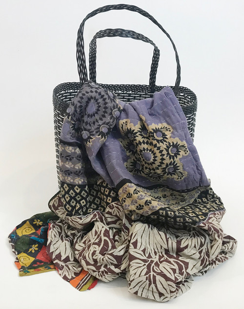 Picnic Basket with  Kantha Quilt 4 India and Guatemala