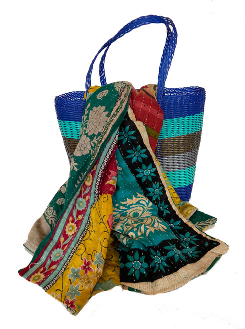 Picnic Basket with  Kantha Quilt 9 India and Guatemala