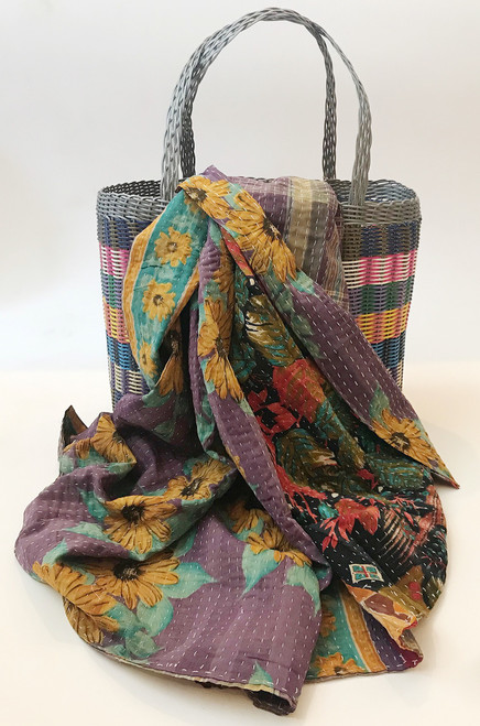 Picnic Basket Rainbow with Kantha Quilt 15 India and Guatemala