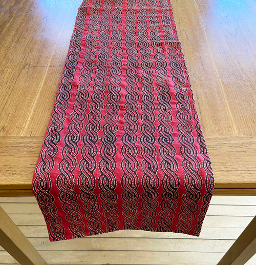 "Hand Stitched Silk  Kantha Table Runner (13"" x 72"")"