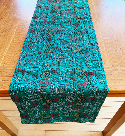 "Hand Stitched Silk  Kantha Table Runner (14"" x 84"")"