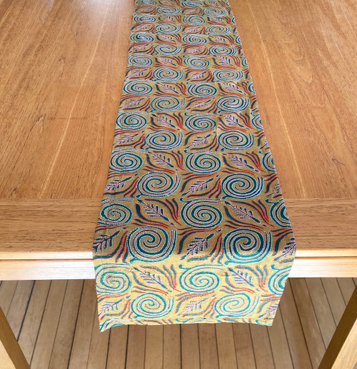 "Hand Stitched Silk  Kantha Table Runner (12"" x 72"")"