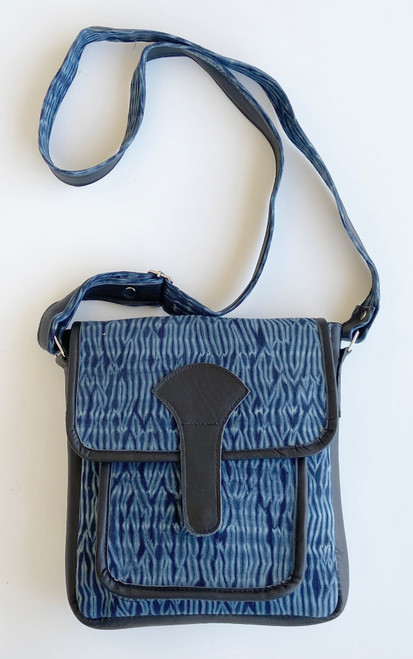 "Shibori Indigo Dyed Messenger Bag Guatemala  (8""x 9.5"")"