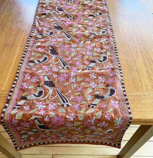 "Hand Stitched Silk  Kantha Bird Table Runner (17"" x 70"")"