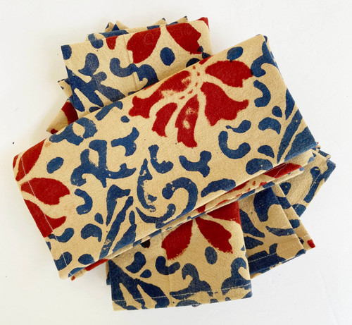 "Hand Block Printed Cotton Floral Napkins  India Set of 4 D(16""x 16"")"