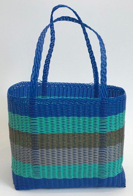"Handmade Plastic Strip Market Basket Guatemala (14"" x 12"")"