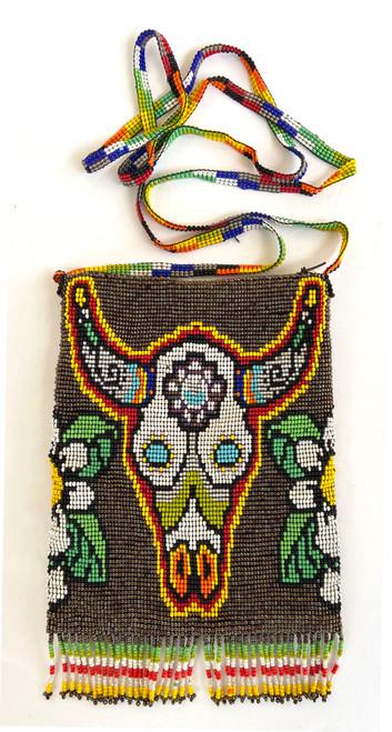 """Handmade Beaded  Bull Shoulder Bag (5.5"""" x 7"""")"""