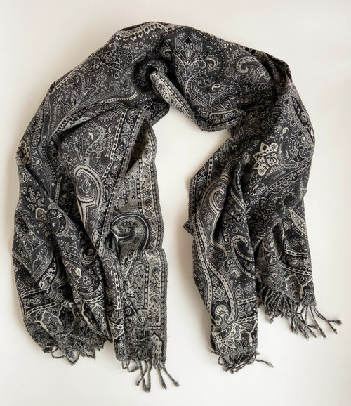 "Handwoven Boiled Wool Throw Black and White India (54"" x 80"")"