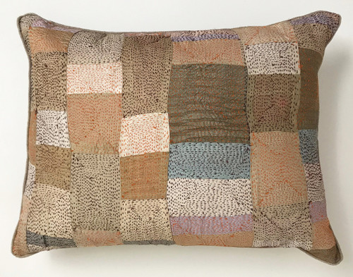 "Hand Quilted  Patchwork Tans Silk Pillow India (14"" x 19"")"