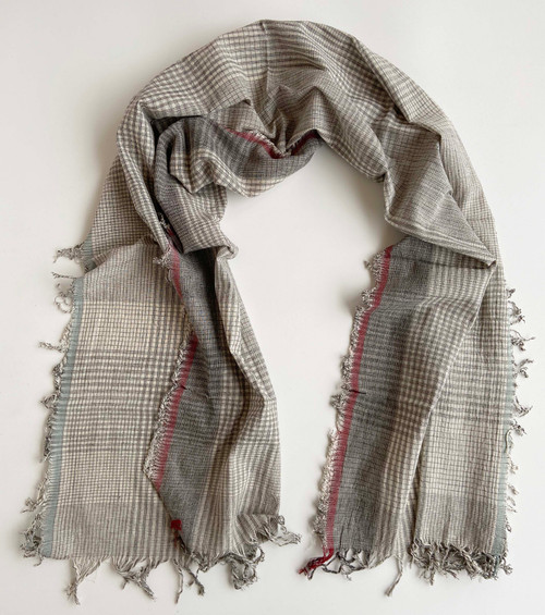 "Handwoven Natural Dyed Cotton Scarf/Table Runner  India (23"" x 78"")"