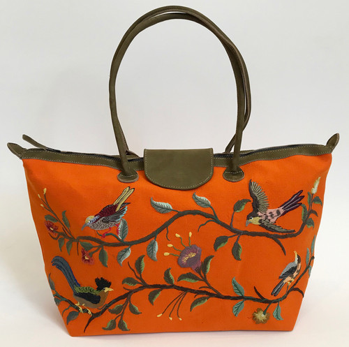Handwoven Embroidered Orange Santiago Satchel Guatemala Leather