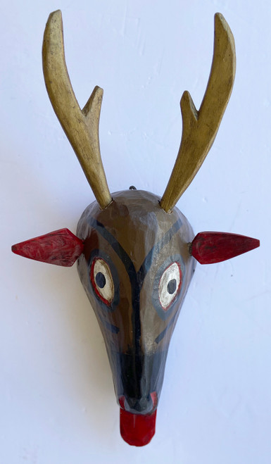 "Wooden Hand Carved Deer Painted  Guatemala (11""w x 17""t)"