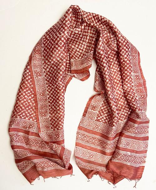 "Hand Batik Natural Dyed  Silk Scarf  India (23"" x  72"")"