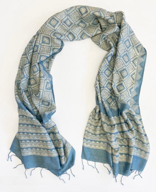 "Hand Batik Natural Dyed  Silk Scarf/Shawl India (34"" x  90"")"