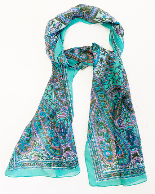 C blue green paisley