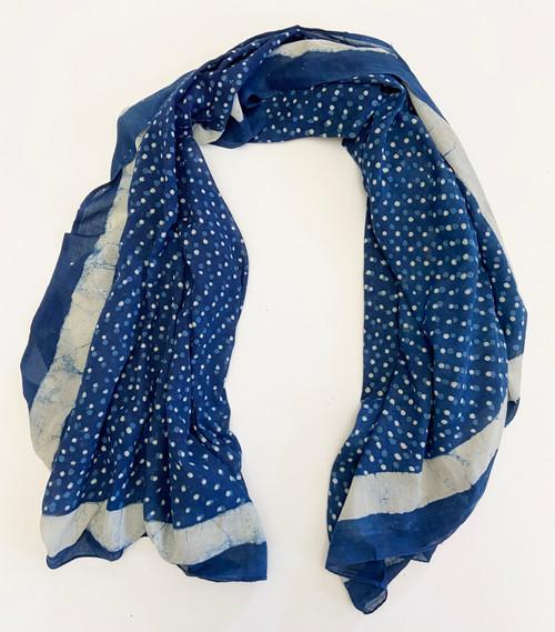 "Printed Cotton Lightweight Dot Shawl/Scarf  India (45"" x 71"")"