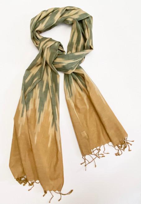 "Lightweight Ikat Cotton Scarf Wheat India (17"" x 80"")wheat, tan, brownish green."