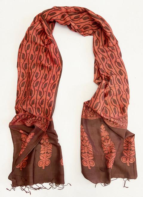 "Hand Batik Natural Dyed  Silk Scarf/Shawl India (21"" x  80"")"