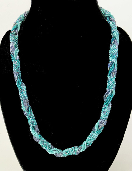 "Handmade Beaded Green and Metallic Necklace Guatemala (11"" drop)"