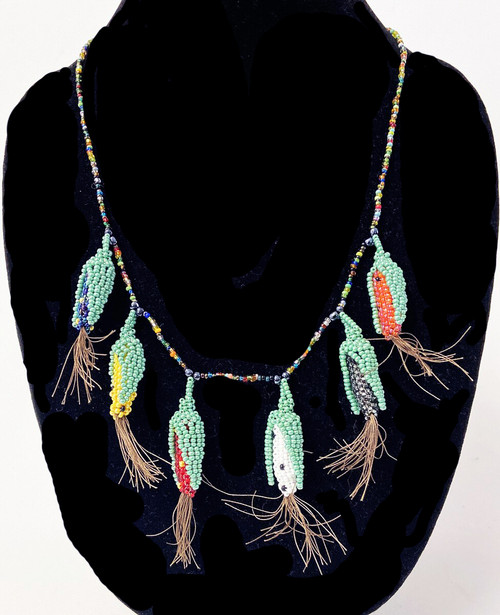 "Handmade Beaded Corn Necklace Guatemala (11"" drop)"