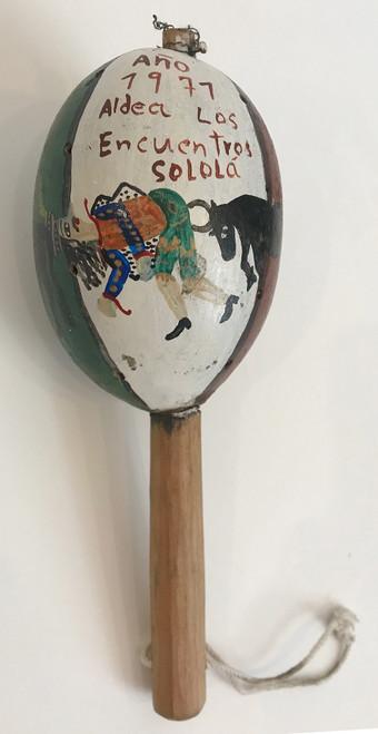 "Vintage Handmade  Maraca Gourd Guatemala (5""x 11"")"