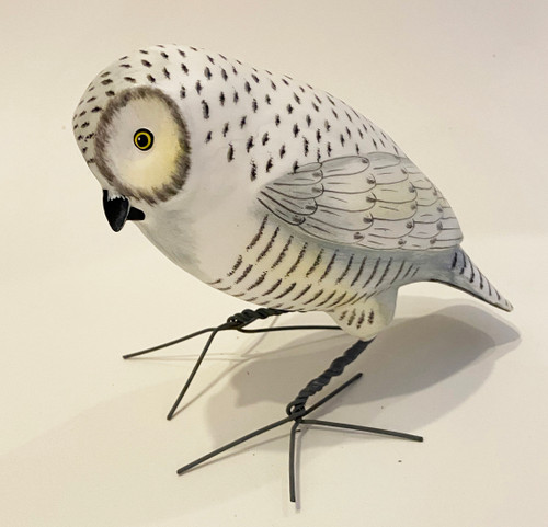 "Snowy Owl Hand Painted Ceramic Bird Guatemala (9"" x 5"")"