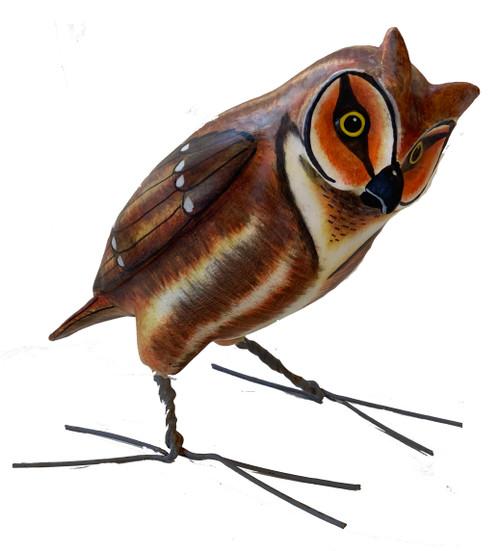 "Great Horned Owl  Painted Ceramic Bird Guatemala (9"" x 6.5"")"
