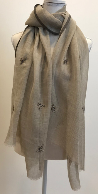 "Fine Wool Scarf with Embroidered Bees India (29"" x  78"")"