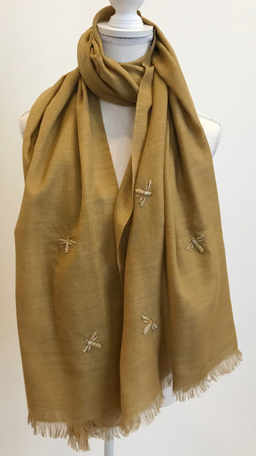 "Fine Wool Scarf with Embroidered Bees 3 India (29"" x  78"")"