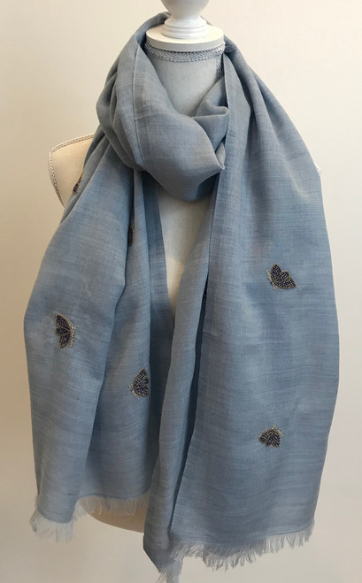 "Fine Wool Scarf with Embroidered Butterflies  India (29"" x  75"")"