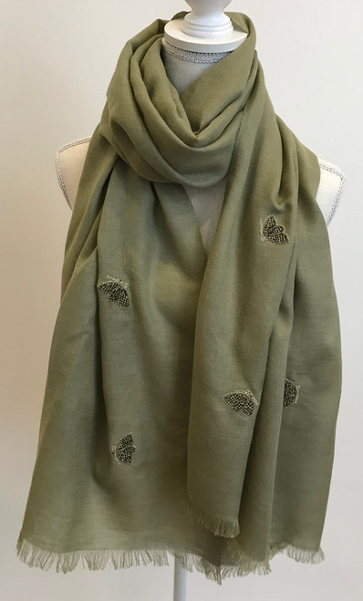 "Fine Wool Scarf with Embroidered Butterflies B India (29"" x  75"")"