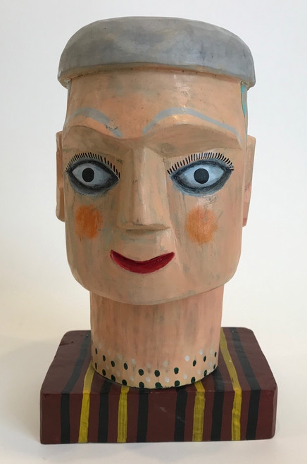 "Folk Art Carved and Painted Wooden Head  Guatemala (8""x 13"")"