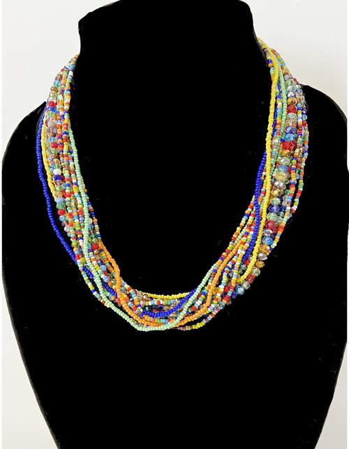 "Handmade 12 Strand Beaded Necklace Multicolor  4 Color Choices Guatemala (9"" drop)"