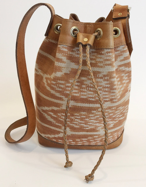 "Handwoven Natural Dyed Bucket Bag Leather and Cotton Guatemala (9"" x 11.5"""")"