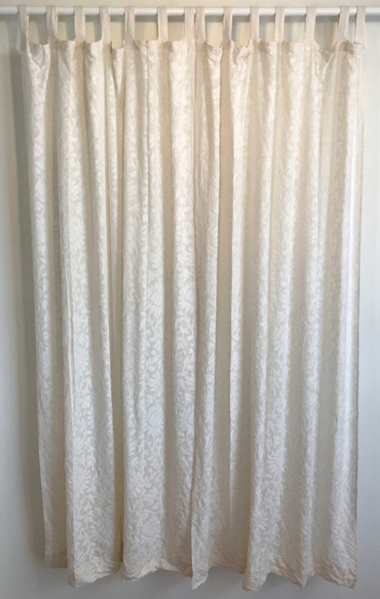 "Handwoven White on White Cotton Curtains India (45"" x 82""each)"