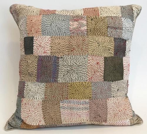 "Hand Quilted Neutrals Patchwork Silk Pillow India (15"" x 15"")"