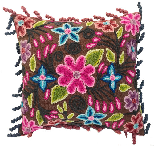 Peru Woolen Hand Woven and Embroidered Brown Pink Purple Blue Green Pillow